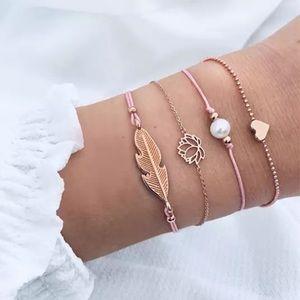 Jewelry - Lotus Flower, Heart, Flower, Pearl Bracelet Set